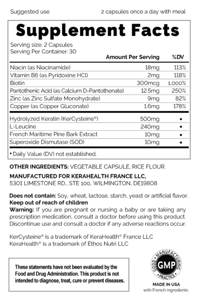 KeraHealth Supplement Facts