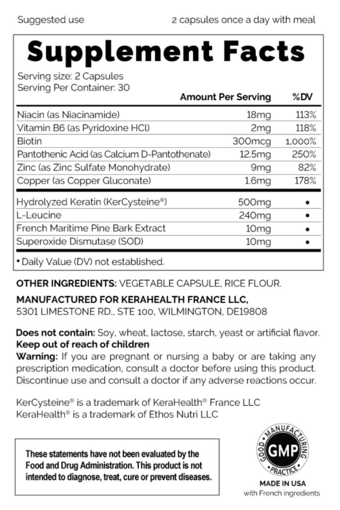 KeraHealth Supplement Facts