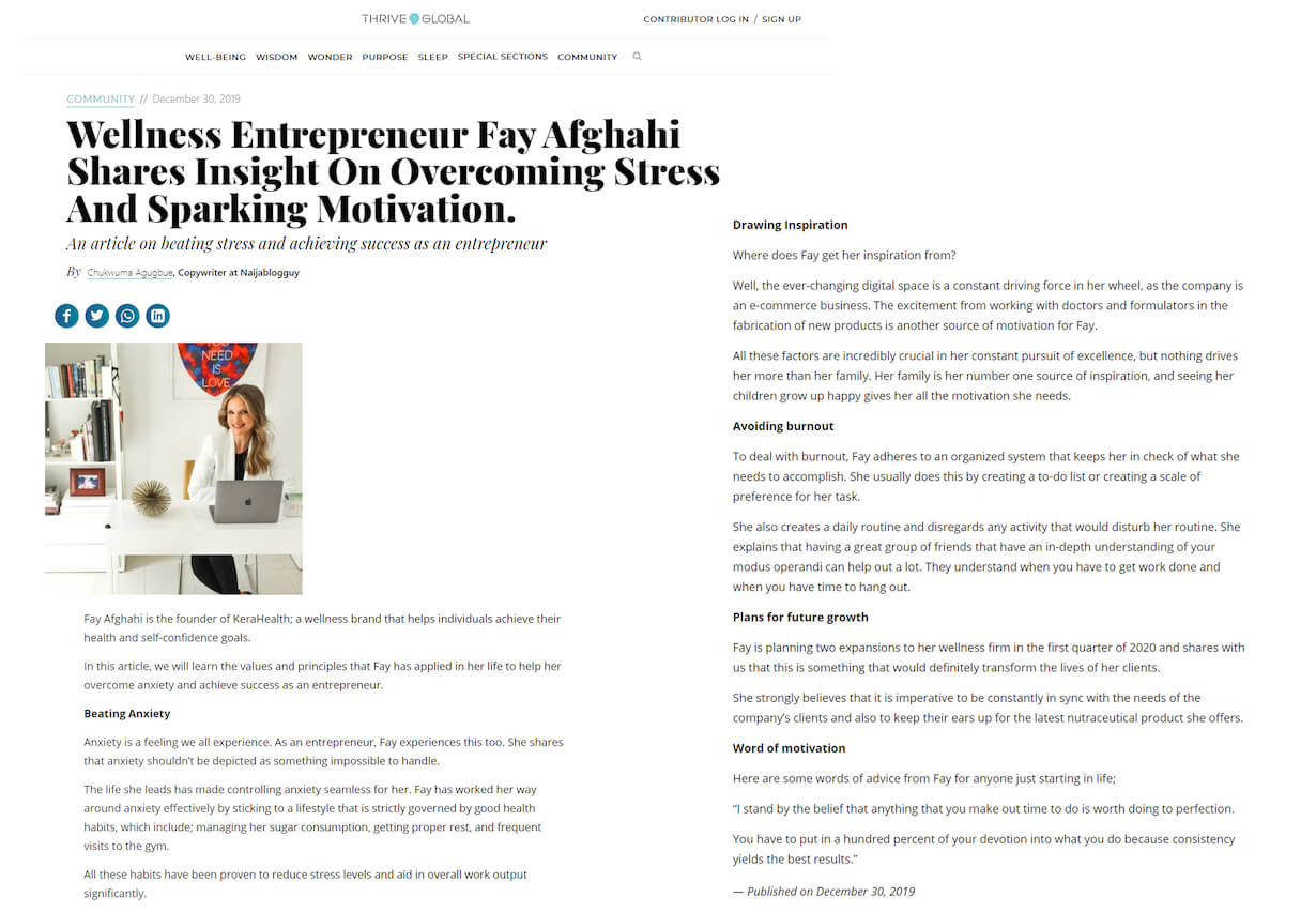 Wellness Entrepreneur Fay Afghahi Shares Insight On Overcoming Stress And Sparking Motivation.
