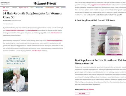In the press – 14 Hair-Growth Supplements for Women Over 50