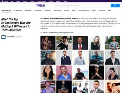 In the press – Meet The Top Entrepreneurs Who Are Making A Difference